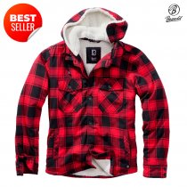 Brandit Lumberjacket hooded - Red/Black