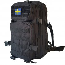US Assault Backpack Black 25L - Swedish Flag