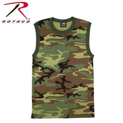 T-SHIRT Muskel Woodland camouflage