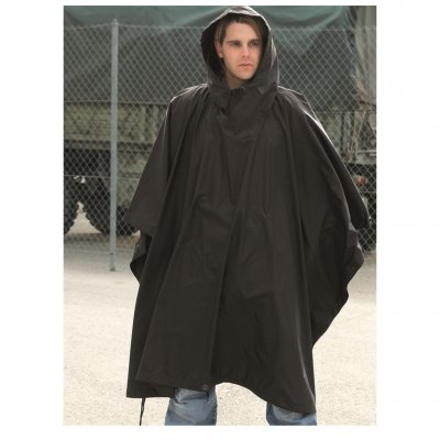 Regnponcho sort Ripstop